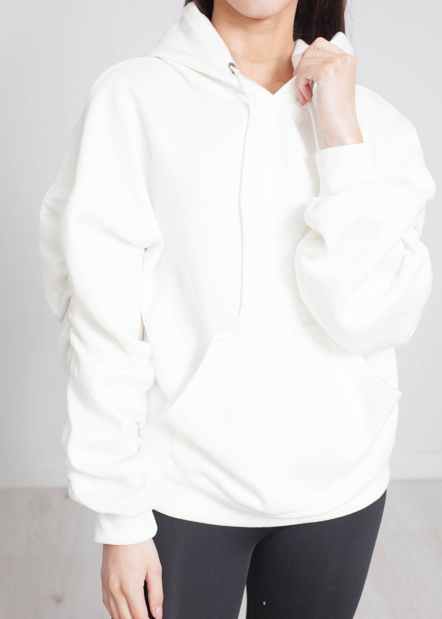 Stella Ruched Sleeve Hoodie In Ivory - The Walk in Wardrobe