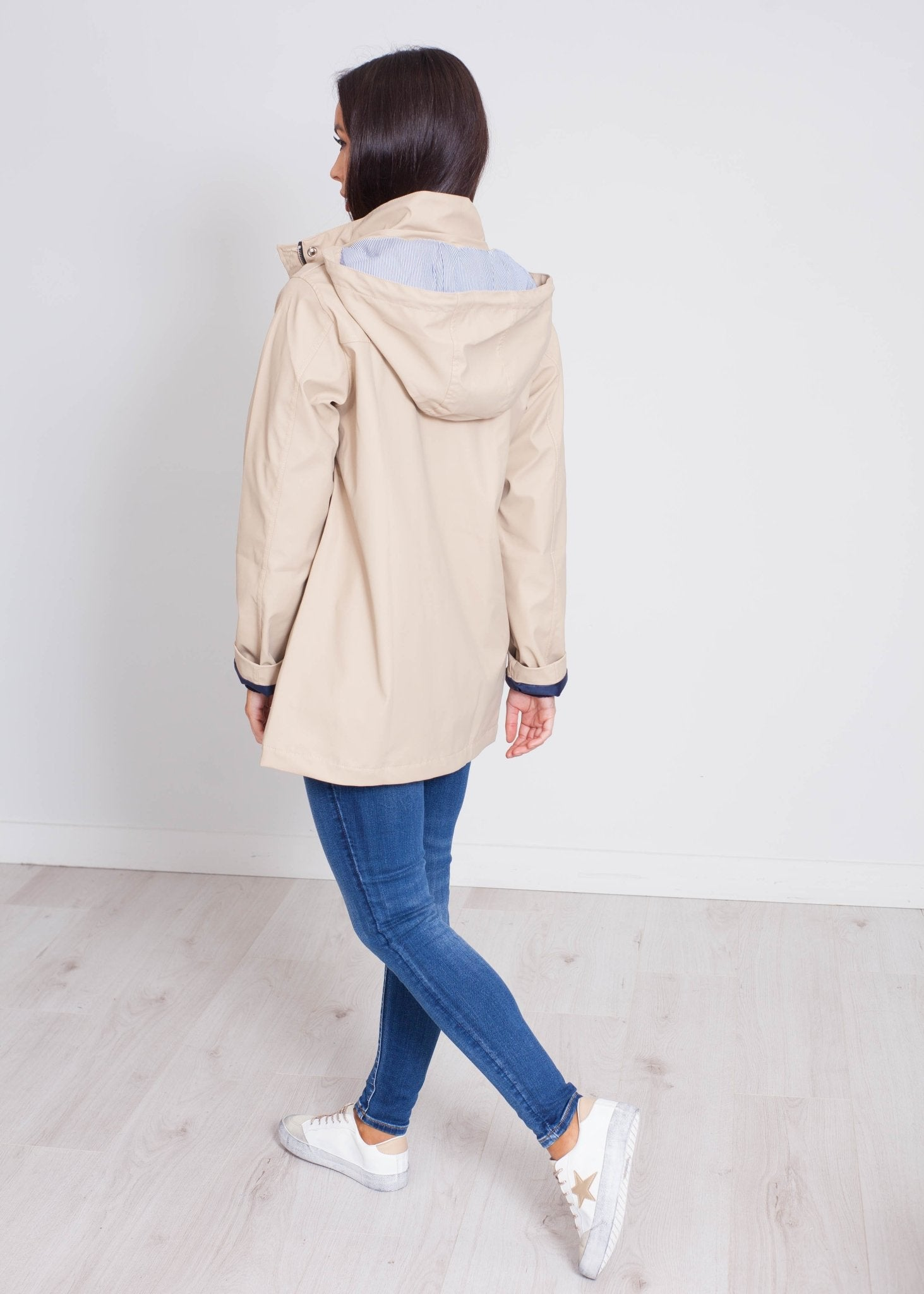 Stella Toggle Raincoat In Latte - The Walk in Wardrobe