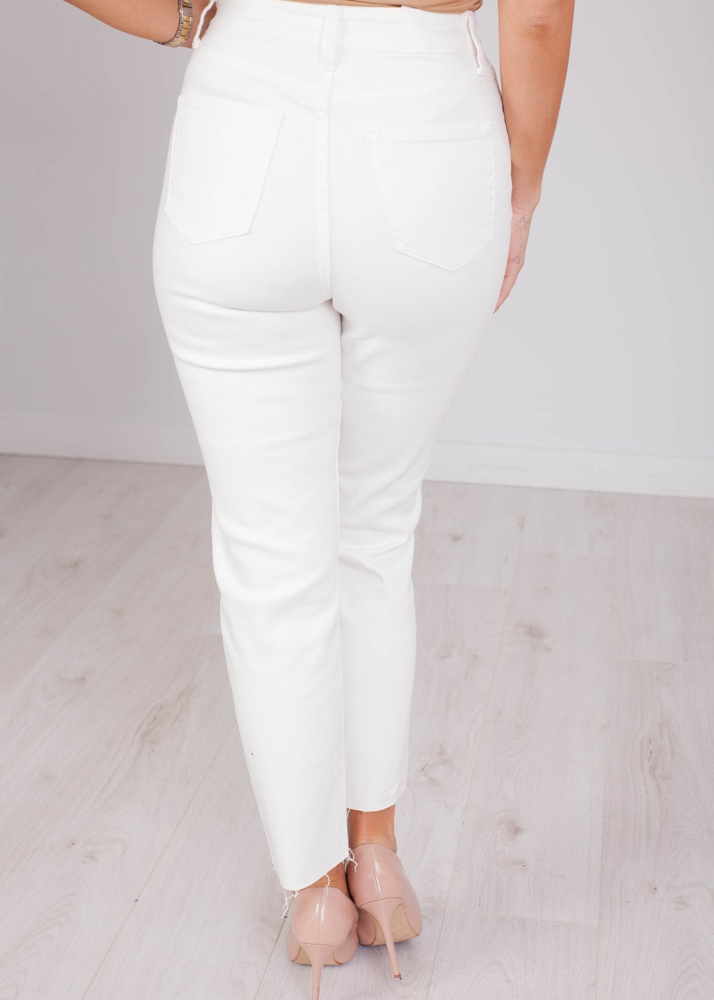 Therese White Unfinished Hem Jeans - The Walk in Wardrobe