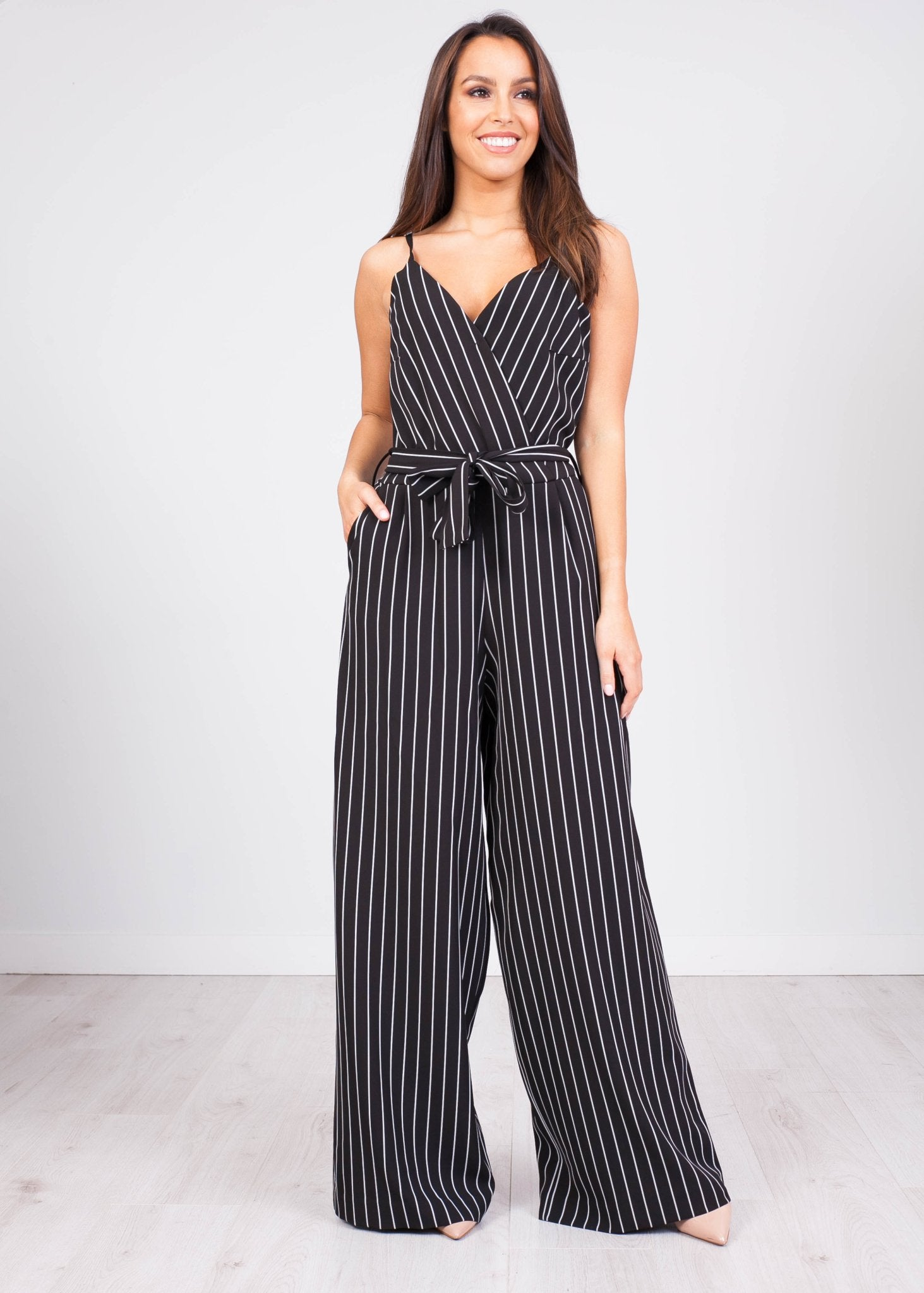 Tina Black Pinstripe Jumpsuit - The Walk in Wardrobe