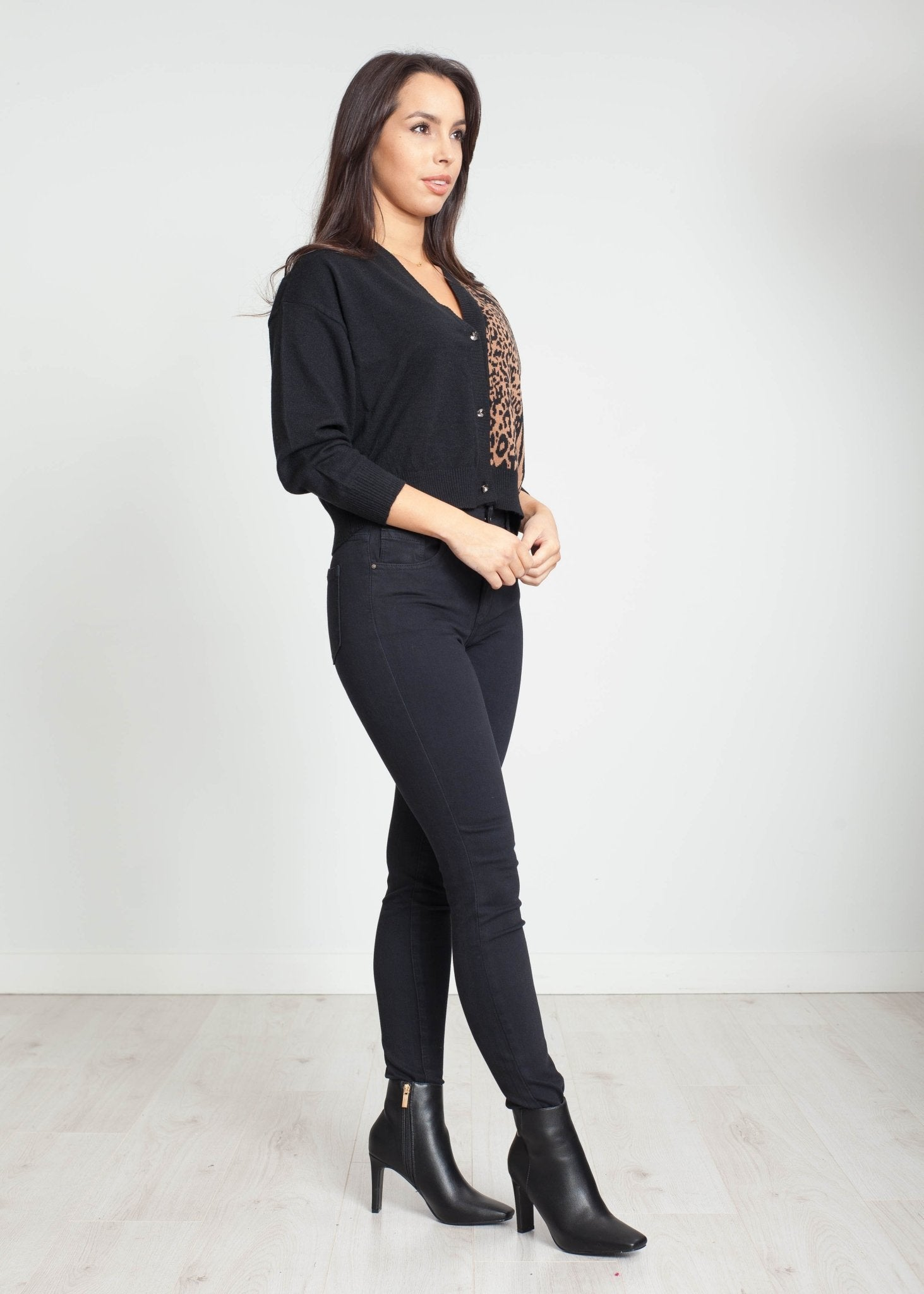Tina Cardigan In Black Animal Print - The Walk in Wardrobe