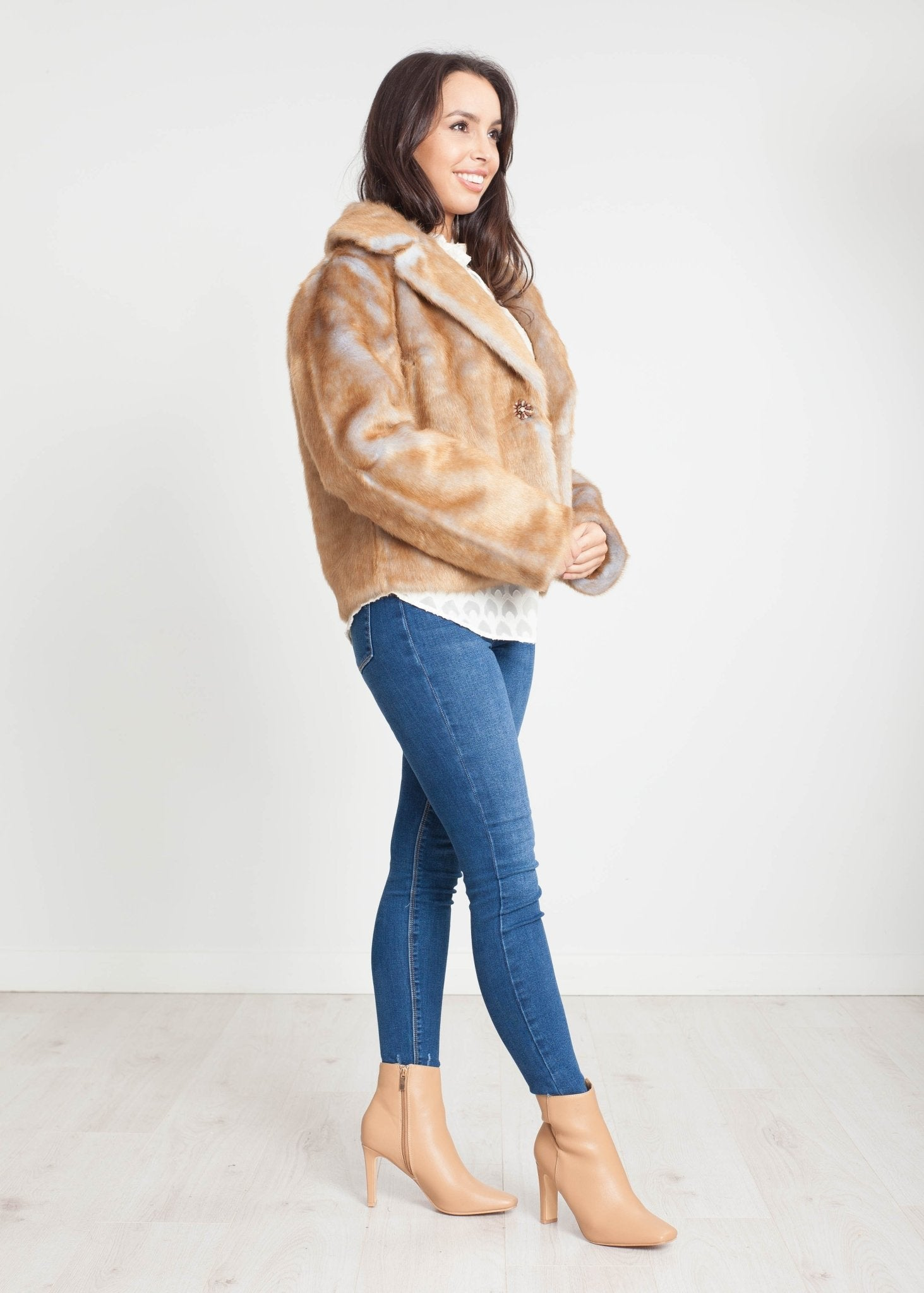 Tina Faux Fur Jacket In Gold - The Walk in Wardrobe