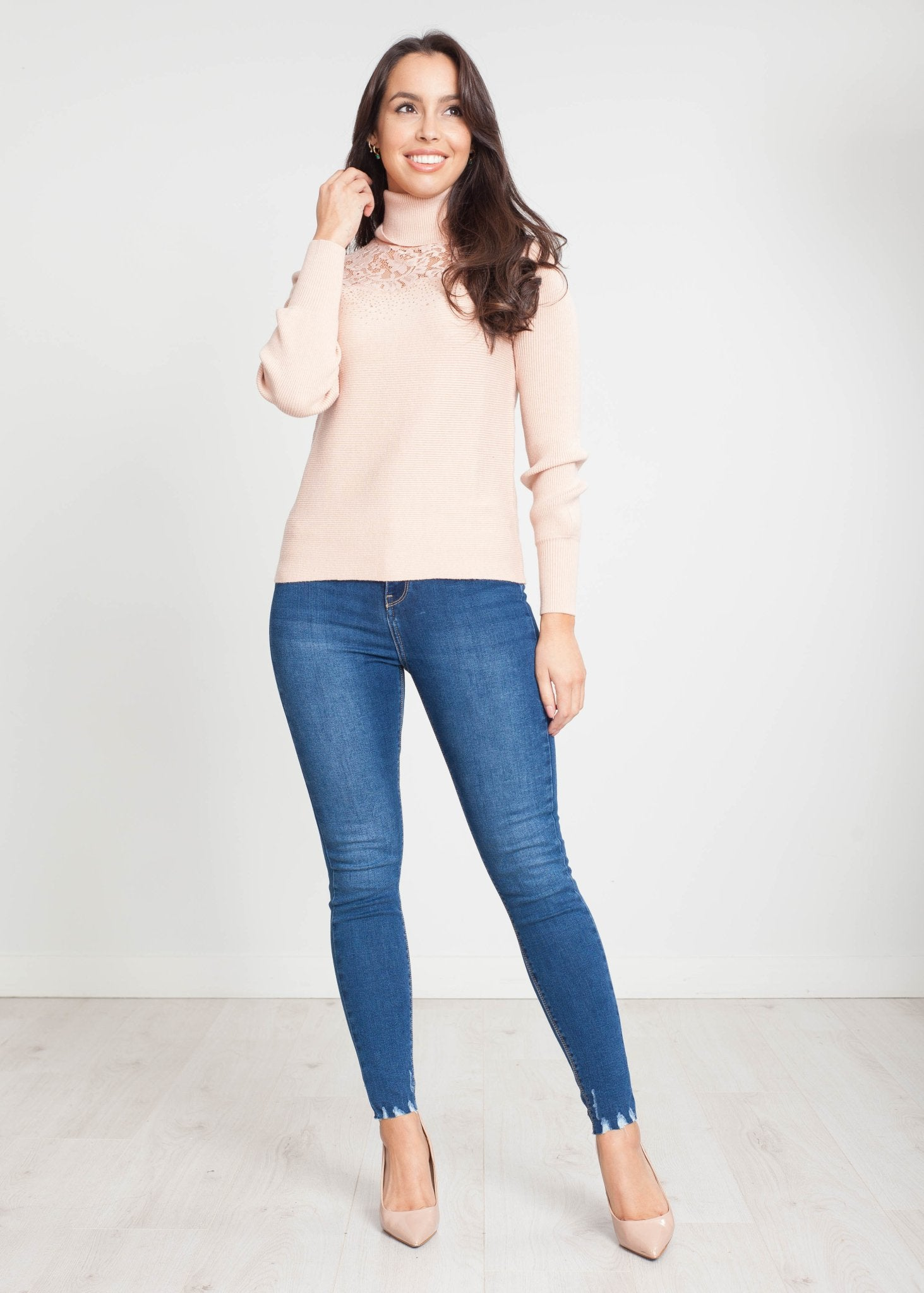 Tina Lace Polo Neck In Blush - The Walk in Wardrobe