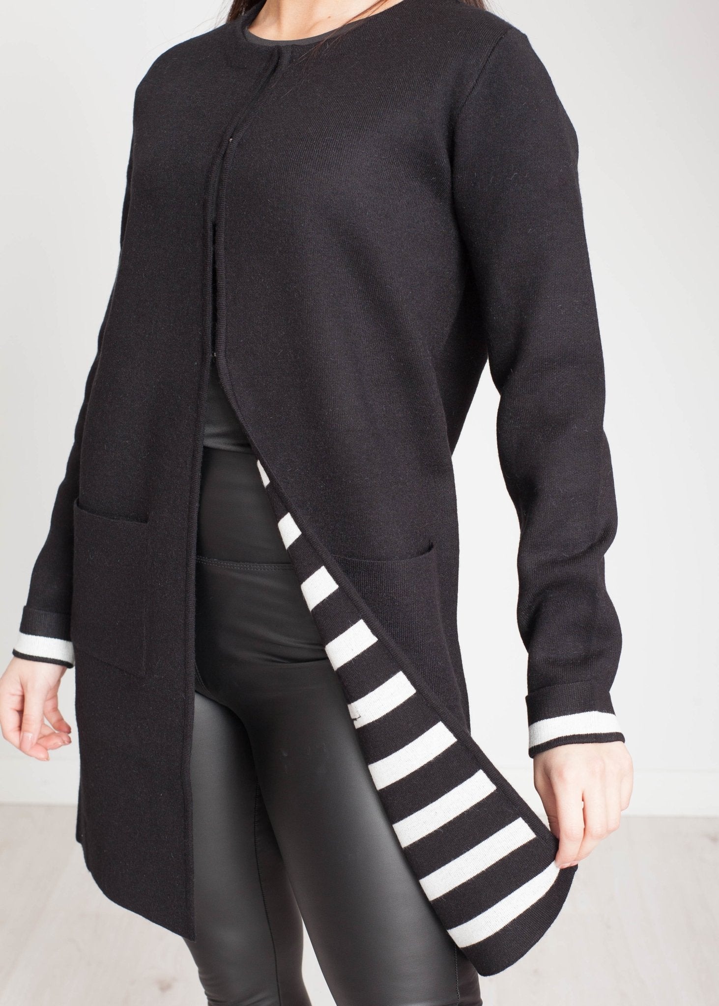 Tina Longline Cardigan In Black - The Walk in Wardrobe