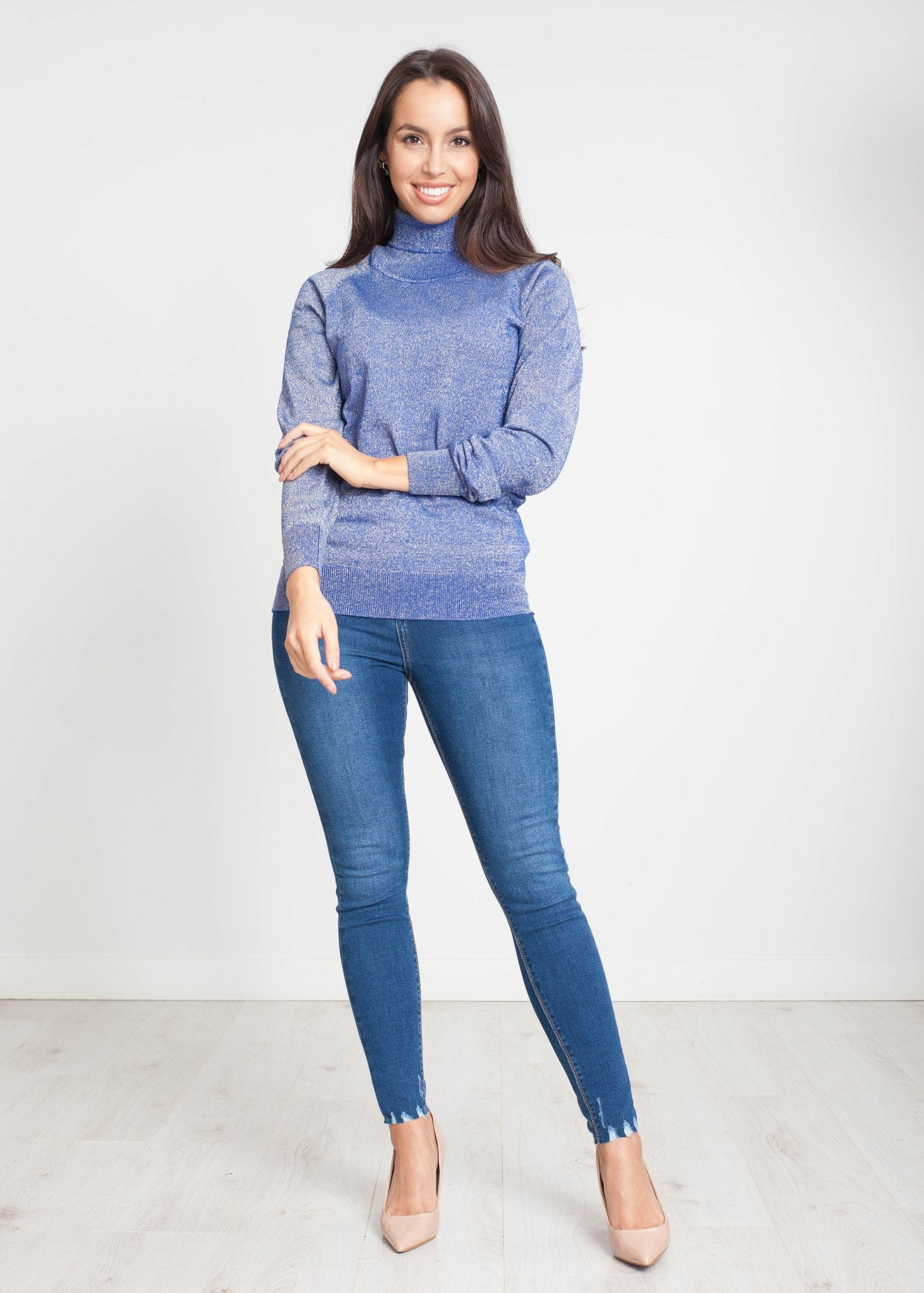 Tina Polo Neck In Blue Shimmer - The Walk in Wardrobe