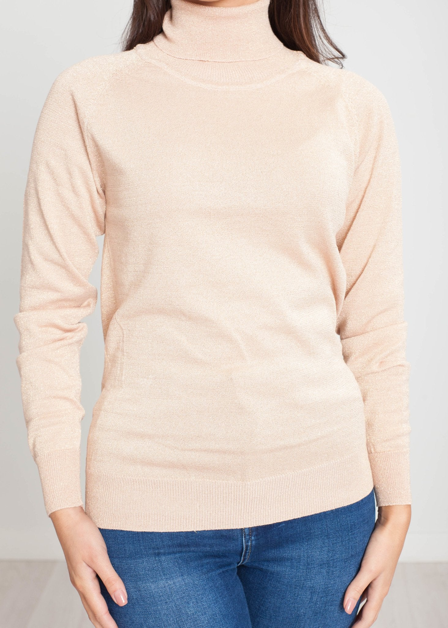 Tina Polo Neck In Blush Shimmer - The Walk in Wardrobe
