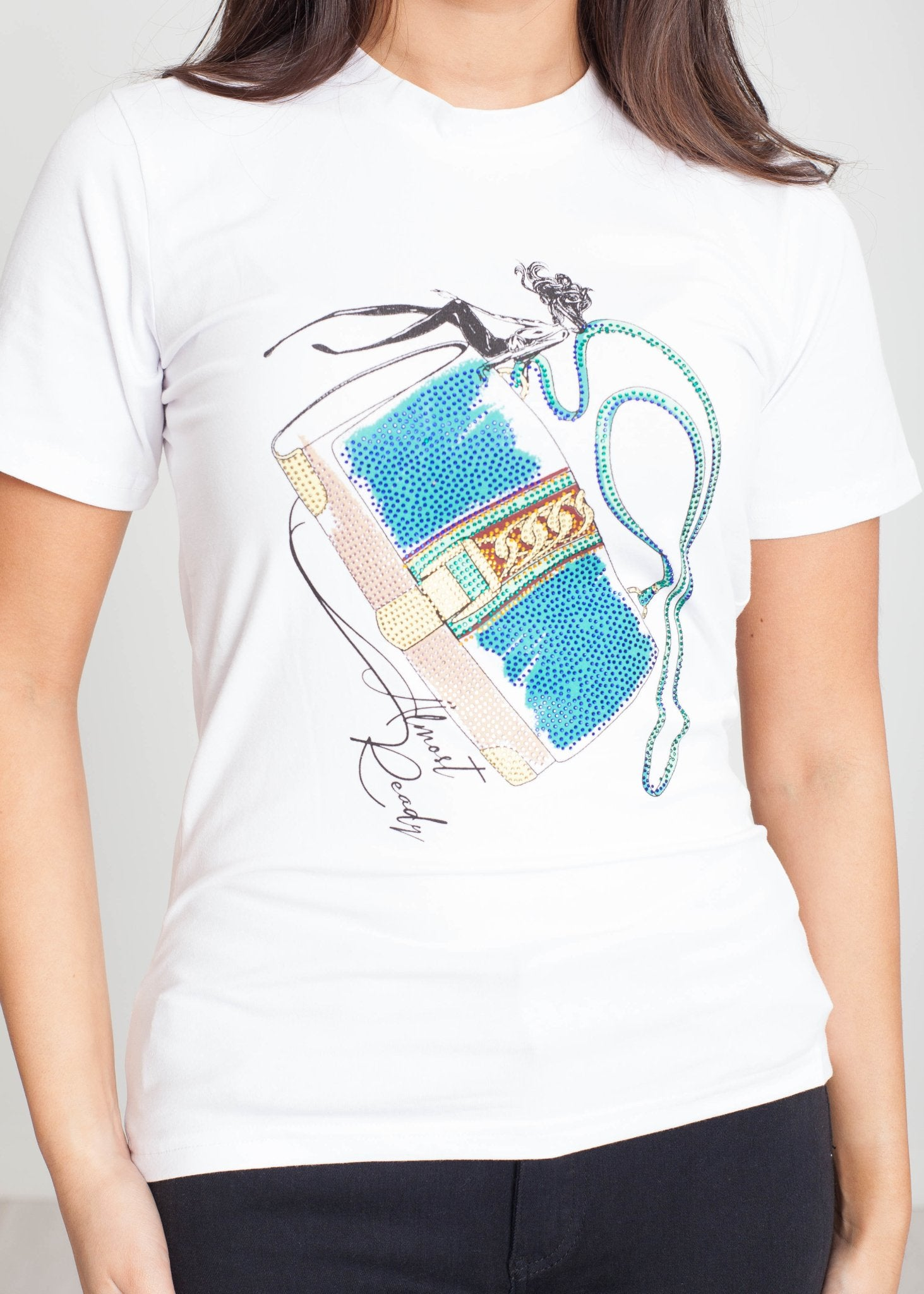 Tina T-Shirt With Handbag Print - The Walk in Wardrobe