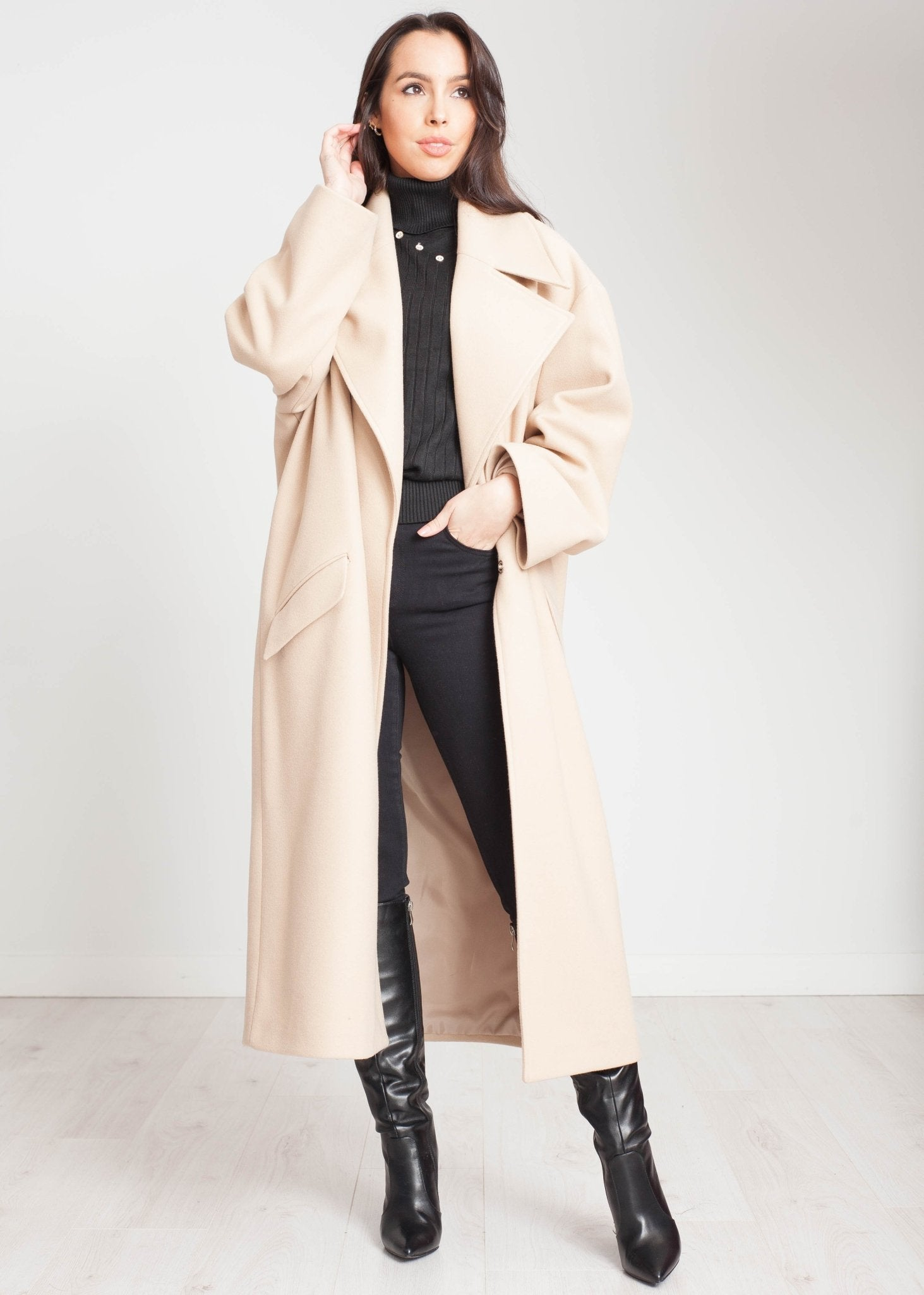 Tyla Longline Coat In Beige - The Walk in Wardrobe