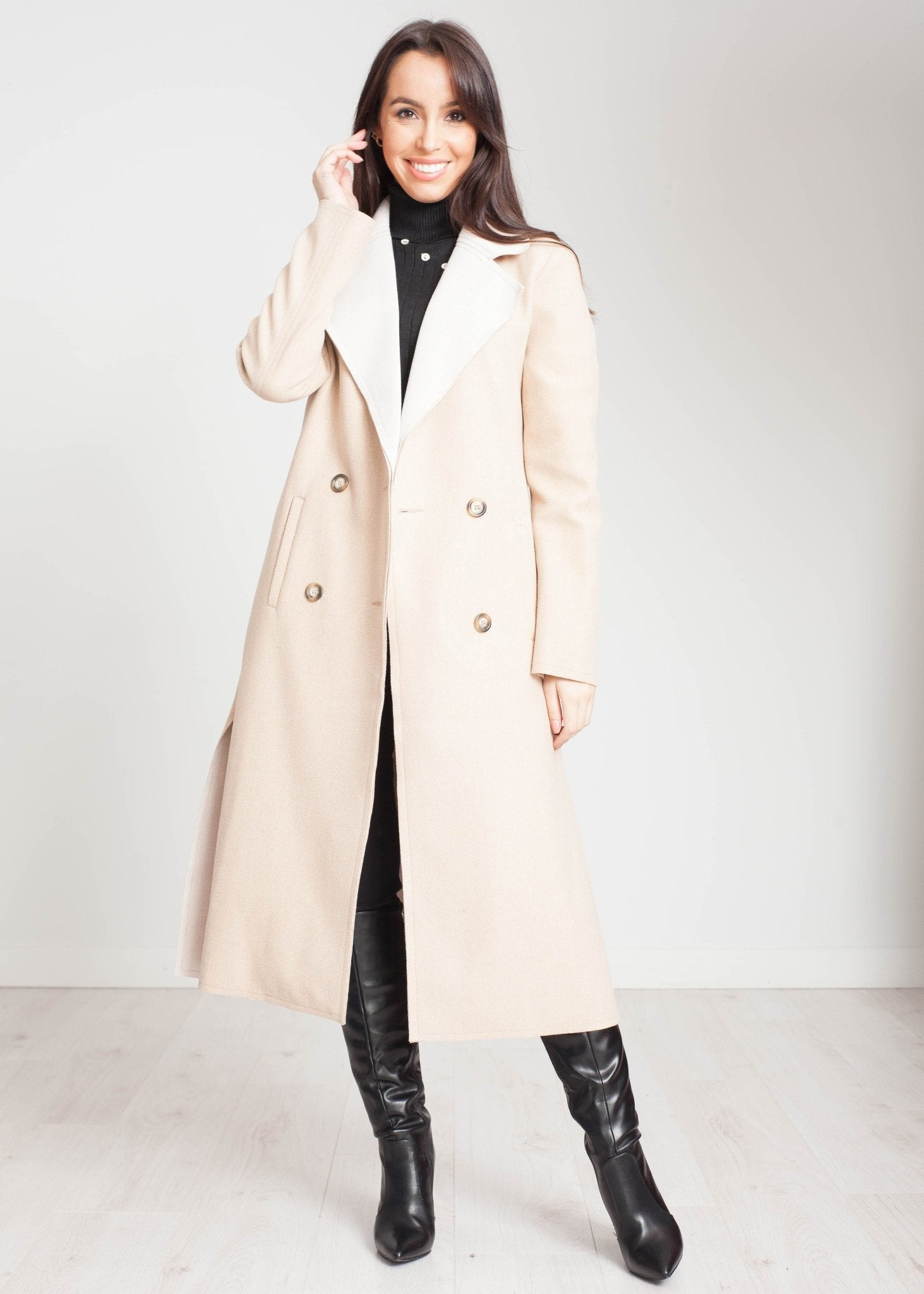 Tyla Longline Coat In Beige & Cream - The Walk in Wardrobe