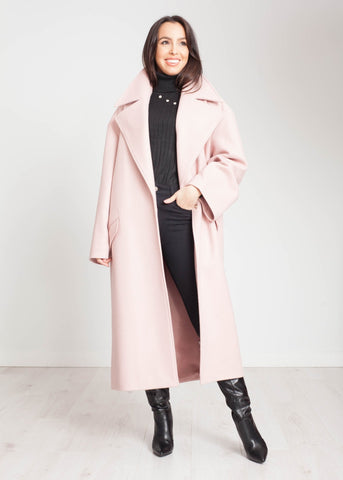 Tyla Longline Coat In Blush Pink - The Walk in Wardrobe