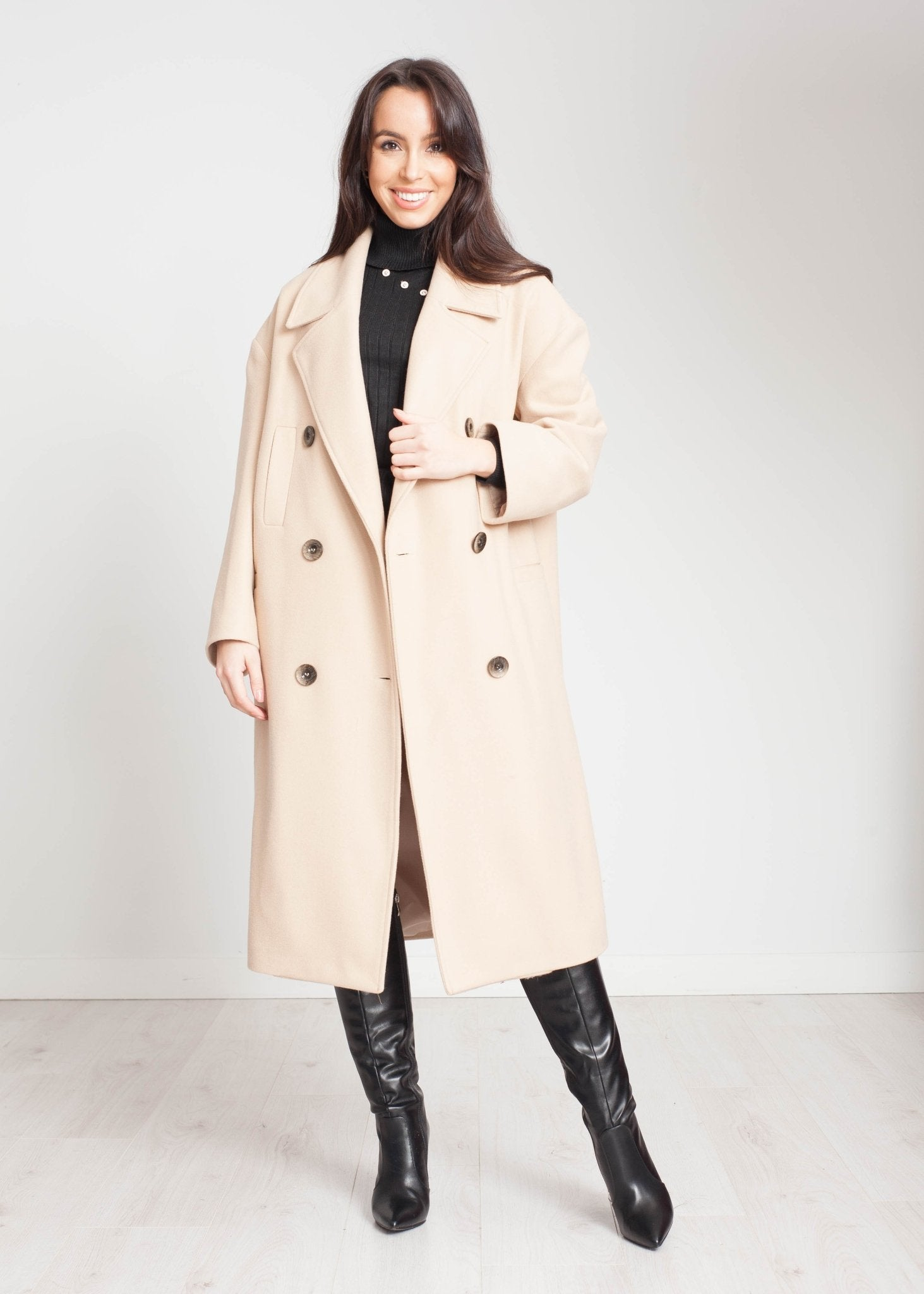 Tyla Longline Coat In Camel - The Walk in Wardrobe