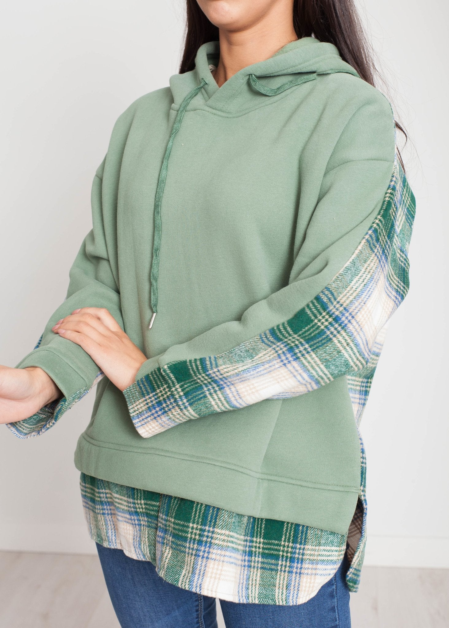 Una Hoodie In Green Check - The Walk in Wardrobe