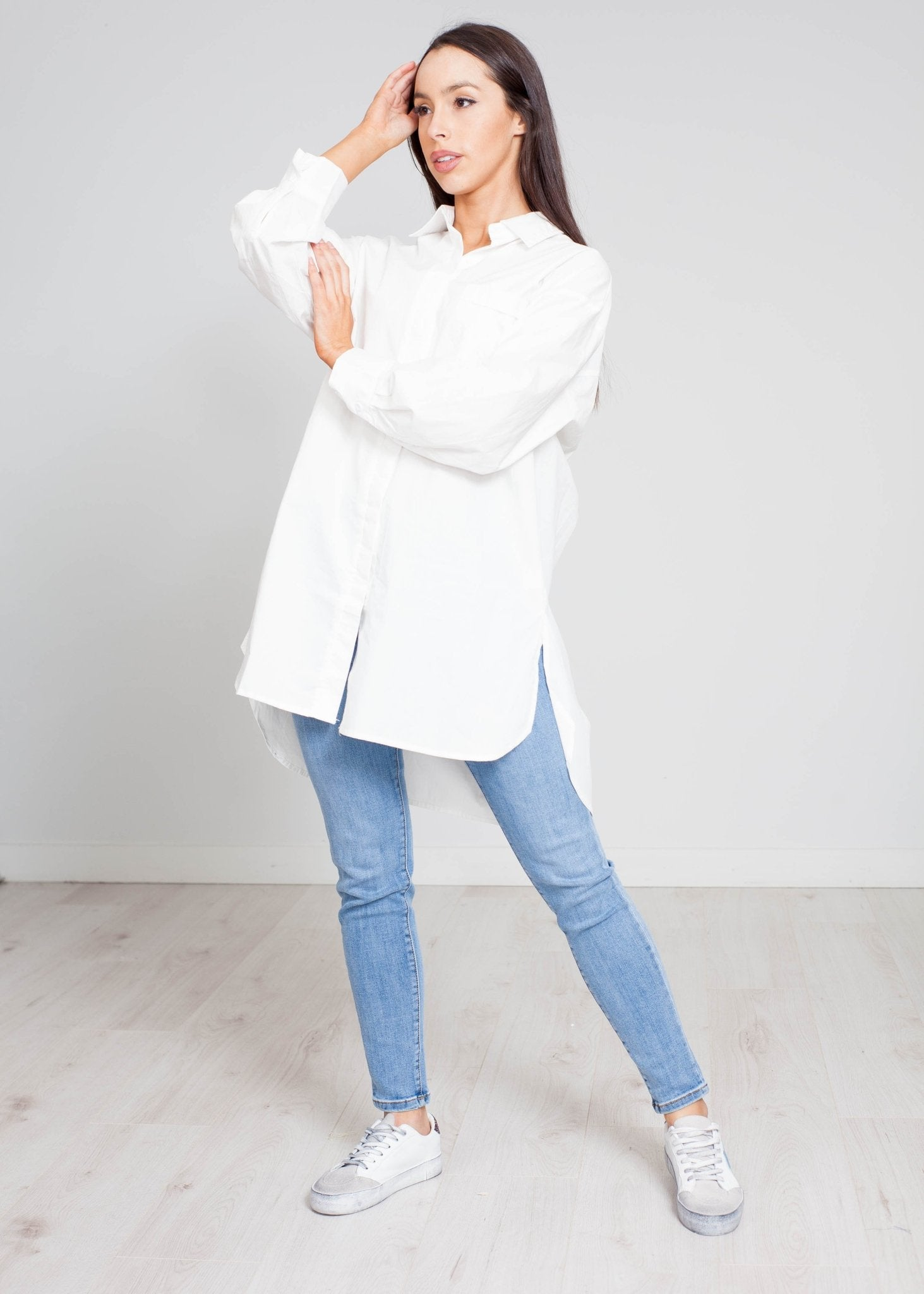 Una Longline Shirt In White - The Walk in Wardrobe