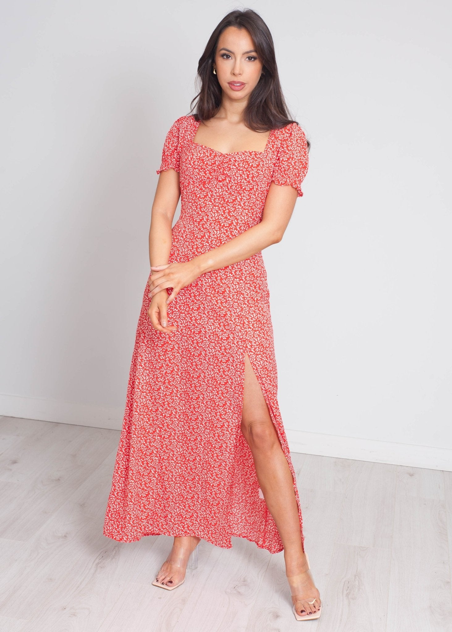 Violet Printed Midi Dress In Red Mix - The Walk in Wardrobe