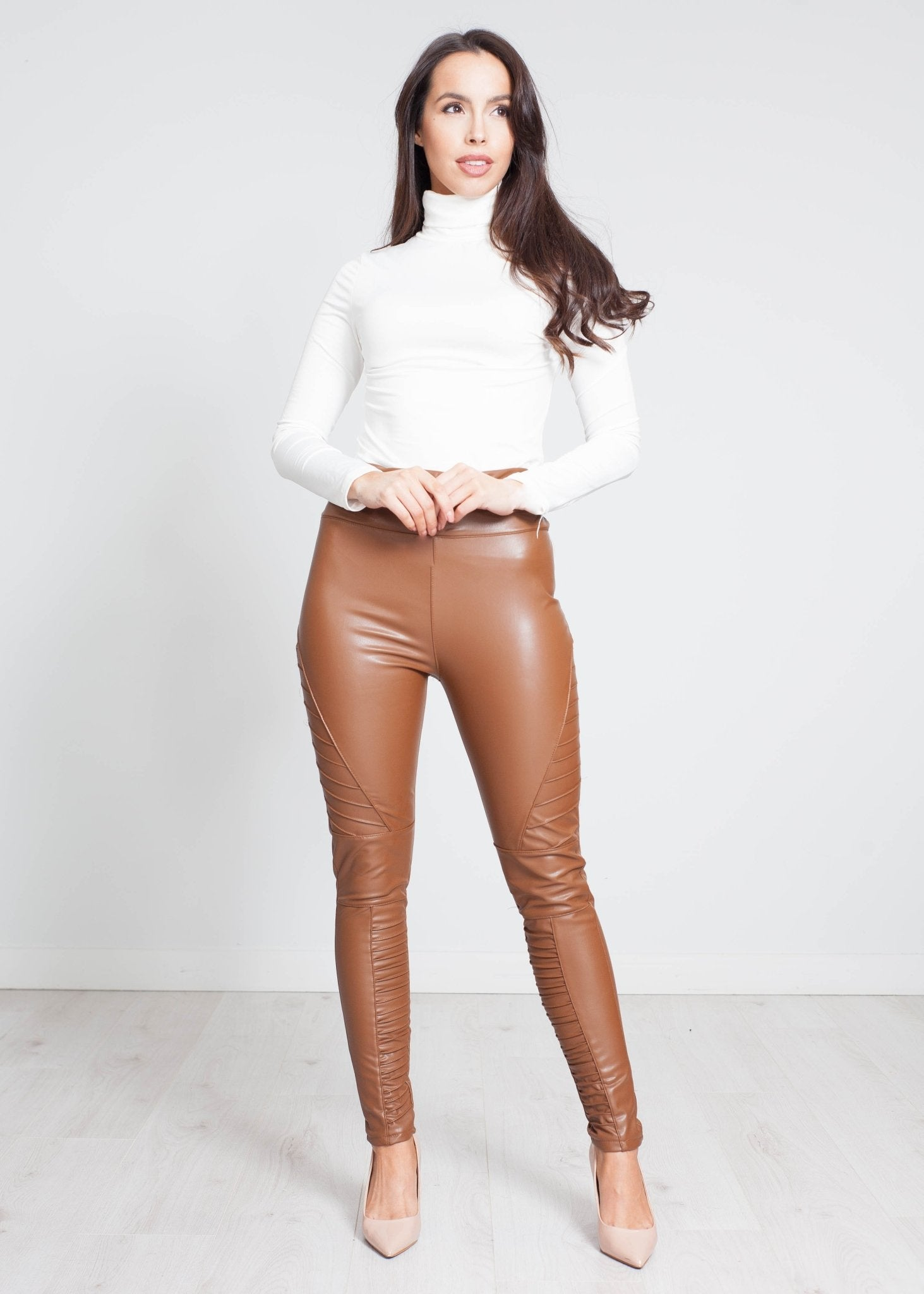 Yasmin Moto Legging In Tan - The Walk in Wardrobe