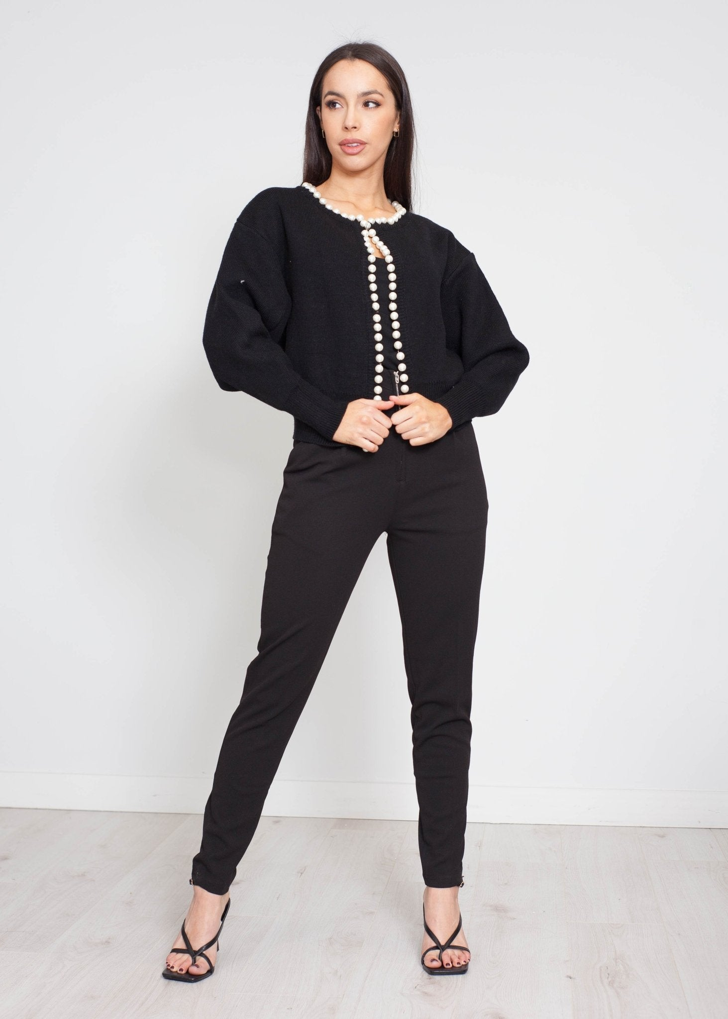 Yasmin Pearl Trim Cardigan In Black - The Walk in Wardrobe