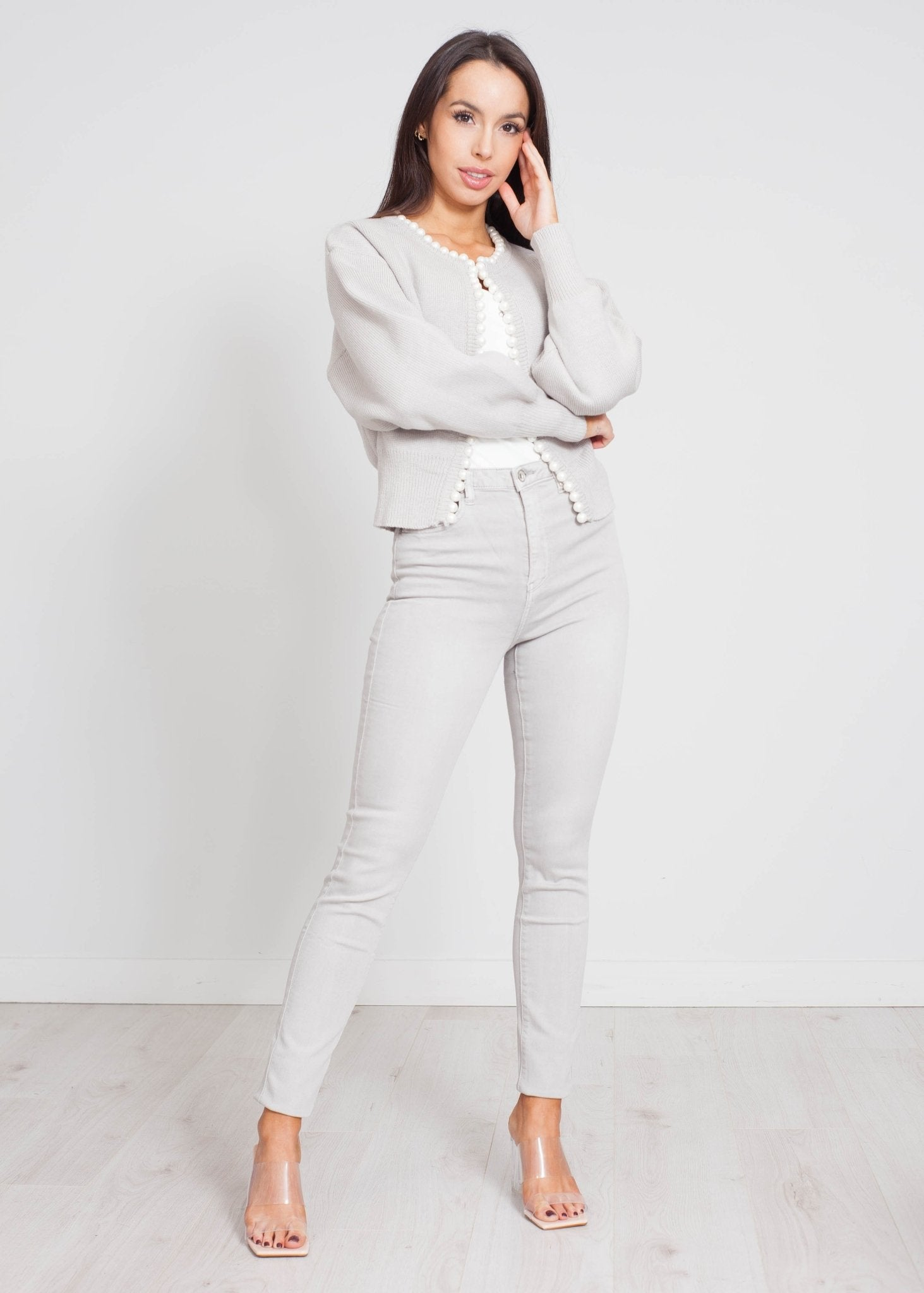 Yasmin Pearl Trim Cardigan In Grey - The Walk in Wardrobe