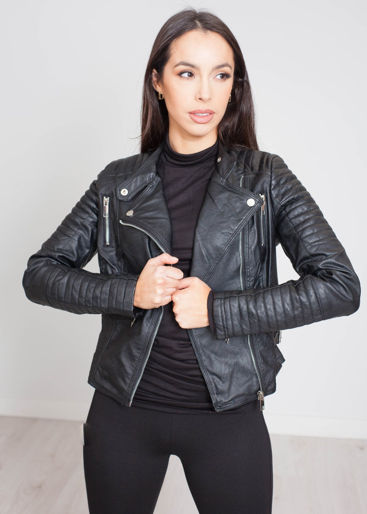 Yasmin Quilted Leather Jacket In Black - The Walk in Wardrobe