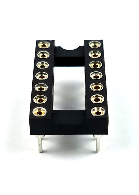 Juried Engineering IC Sockets DIP-14 Machined Round Contact Pins Holes 2.54mm DIP14 (Pack of 1)