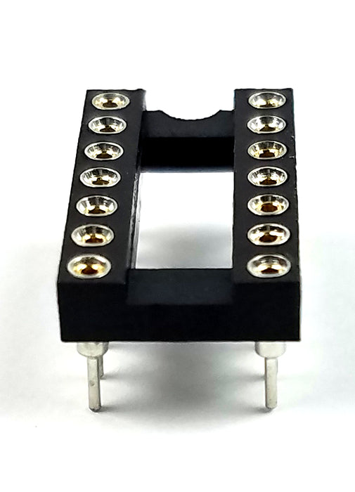 IC Sockets DIP-14 Machined Round Contact Pins Holes 2.54mm DIP14