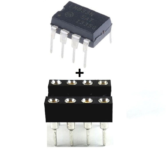 ON Semiconductor LM833NG LM833 + Socket - Dual Operational Amplifier IC (Pack of 1)
