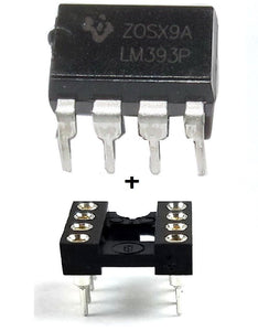 Texas Instruments LM393P + Socket - Dual Differential Voltage Comparator IC (Pack of 1)