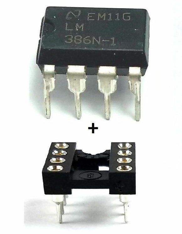 National Semiconductor LM386N-1 + Socket - Low Power Audio Amplifier IC (1 Piece)
