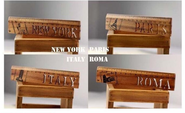 Retro Wooden Ruler, International Wooden Ruler, Italy, Paris, Roma, New York