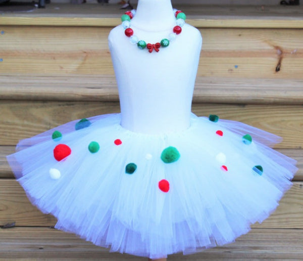 Holiday Poms of Joy, Holiday Dress, Holiday Skirt, Holiday Tutu, Christmas Tutu