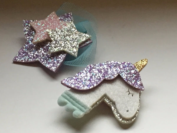 Unicorn and Stars Hair Clip