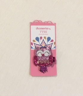 Sparkly Pink Owl Hair Clip