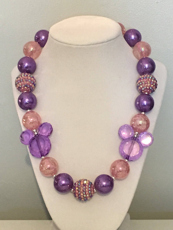 Sparkling Minnie Mouse Inspired Chunky Bubblegum Necklace