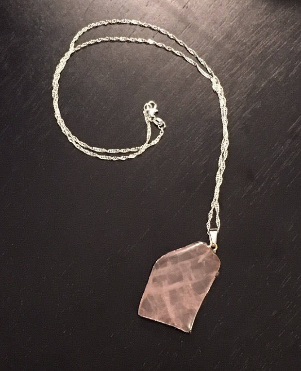 Tumbled Rose Quartz Necklace, Womens Tumbled Rose Quartz Necklace, Rose Quartz and Sterling Silver Necklace, Rose Quartz