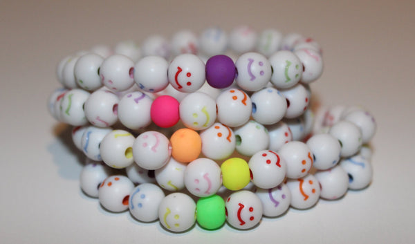 Children's Jewelry Happy Face Bracelet with solid round (multiple color options available)