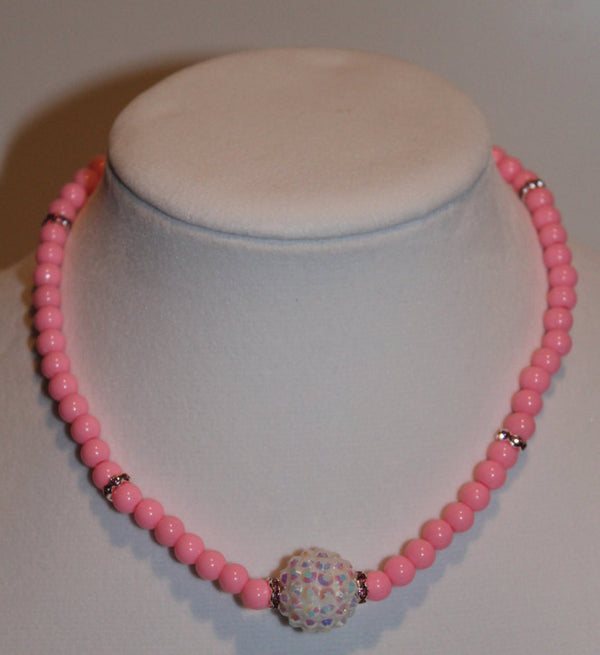 Children's Jewelry - Pink Princess Neckace and Bracelet Set