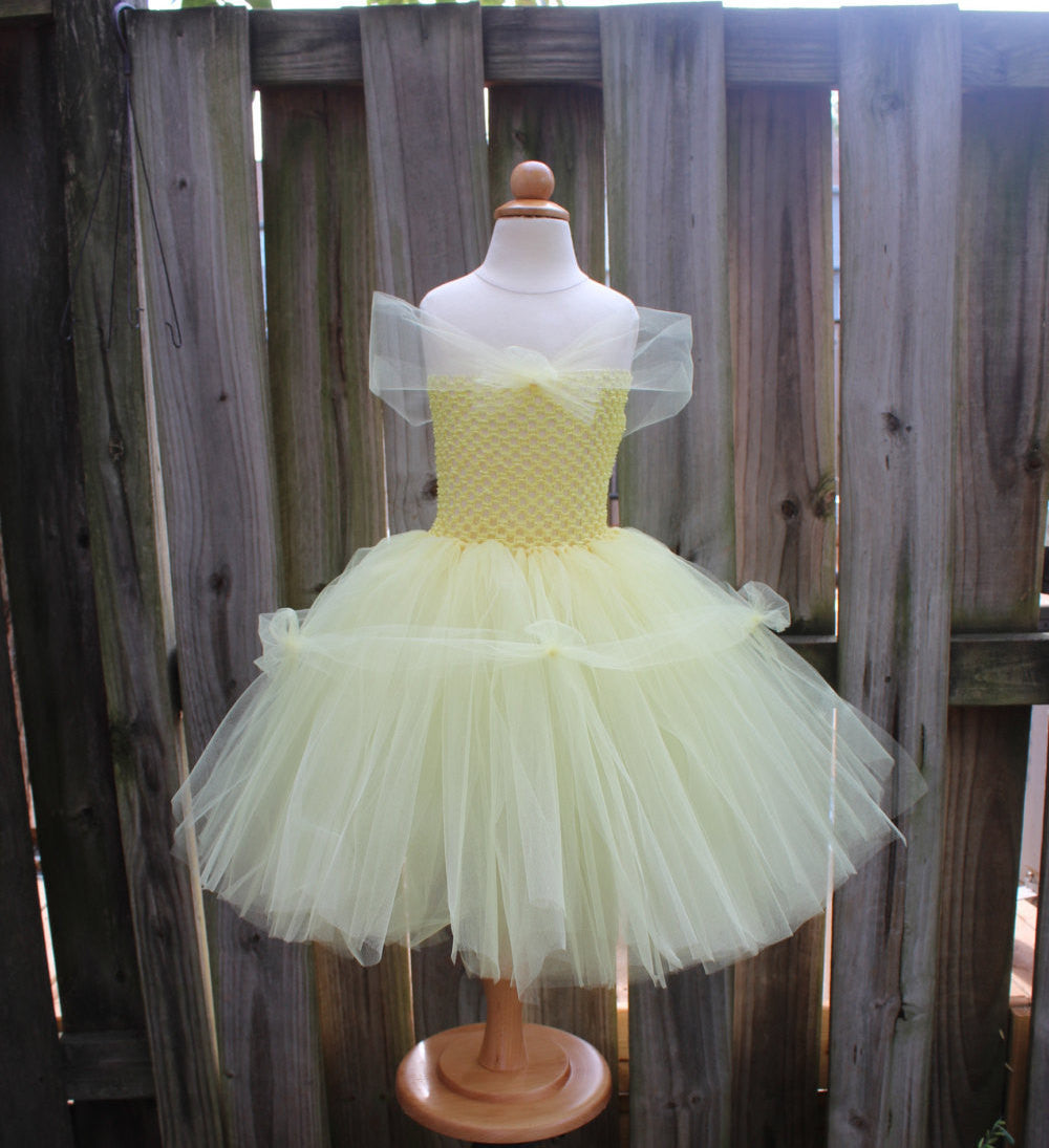Princess Belle Tutu Dress Costume - Fully lined crochet top sizes 4T and up
