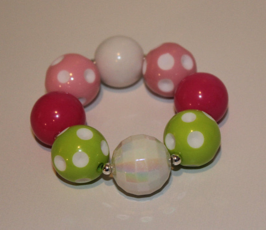 Apple Green, Hot Pink and Pink Polka Dot Chunky Bubblegum Bracelet