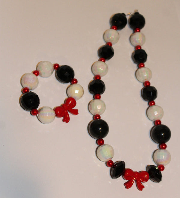 Cruella DeVille Inspired Chunky Necklace and Bracelet Set