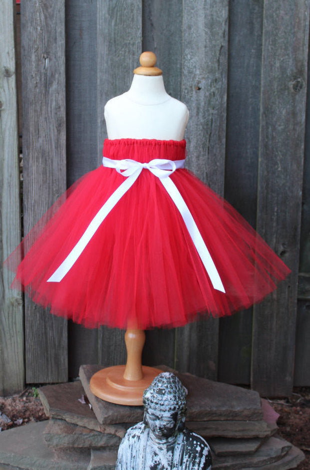 Vibrant Red Tutu Dress Valentines Day Tutu Dress Fully Lined Top