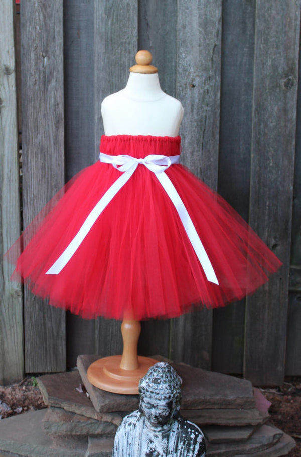 Vibrant Red Tutu Dress, Valentines Day Tutu Dress - Fully lined top sizes 4T and up