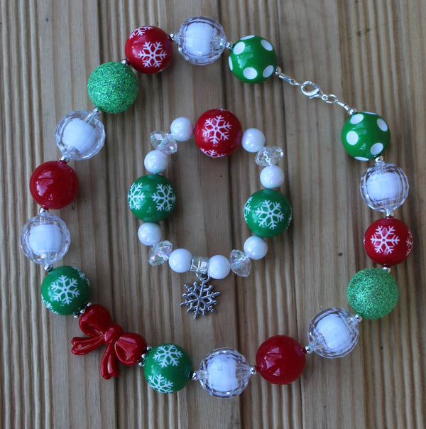 Holiday Snowflake Necklace and Bracelet Set, Toddler jewelry set, children's jewelry set - JTJ15373