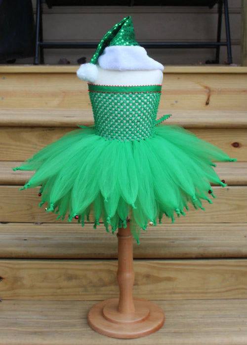 Holiday Elf Tutu Dress with Bells!!!  Fully lined top sizes 4T and up