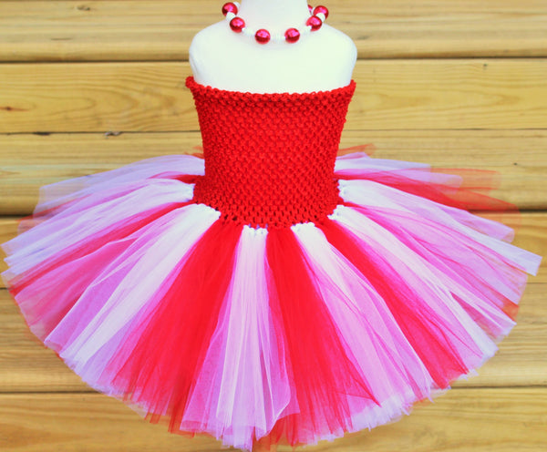 Red and White Tutu Dress - Fully lined top sizes 4T and up