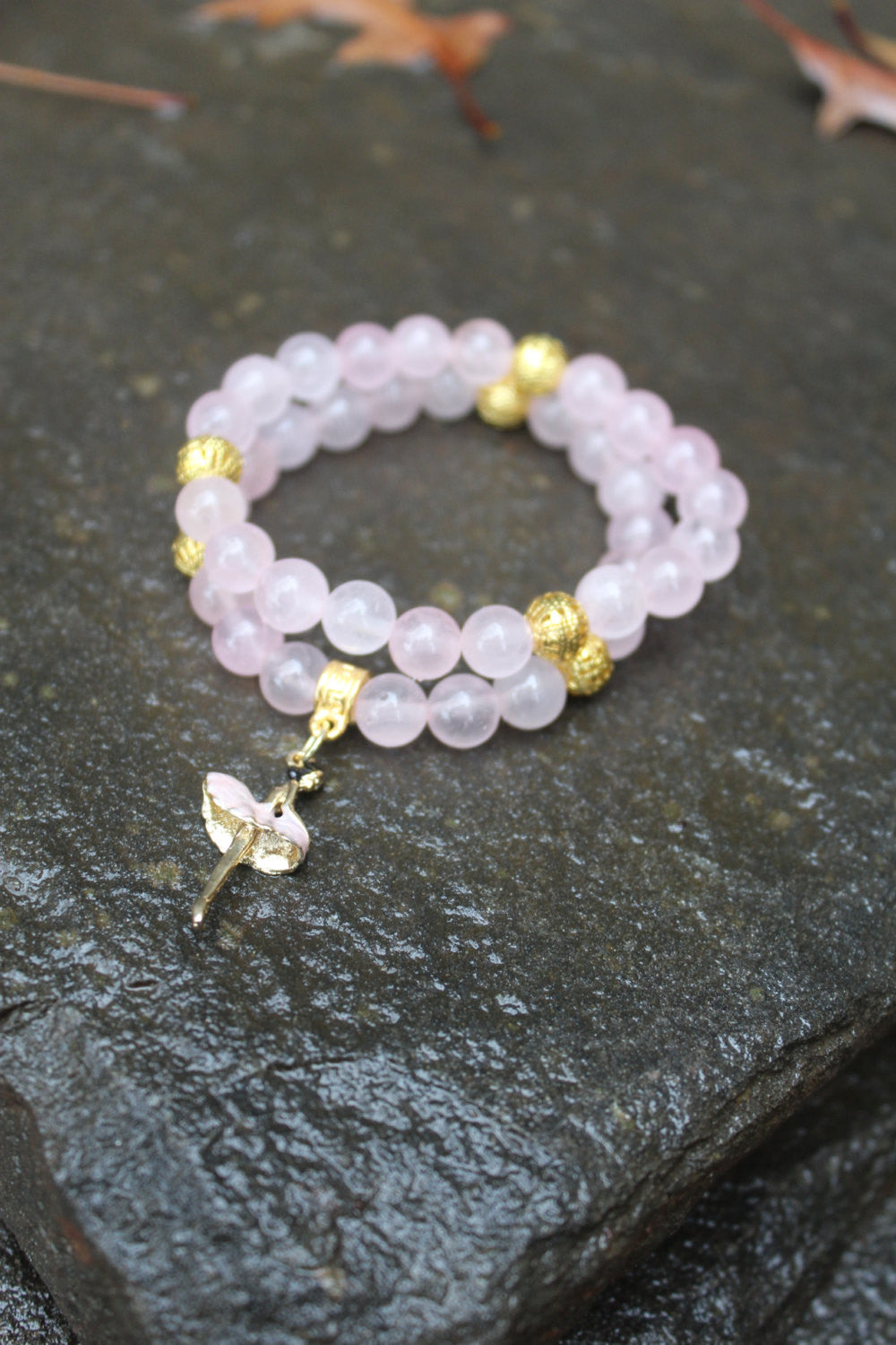 Genuine Rose Quartz Ballerina Bracelet with Gold Accents