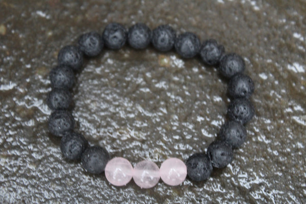 Genuine Volcanic Lava Rock Bracelet with Rose Quartz accents, Womens or Mens Bracelet  Mens Mala, Lava Rock Mala, Mala, Lava Rock Bracelet