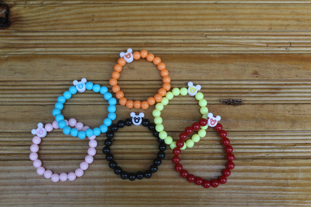 Gender Neutral Bright Bracelets with Mickey Mouse accents, Boys Bracelets, Girls Bracelets (multiple color options colors available) - JTJ15