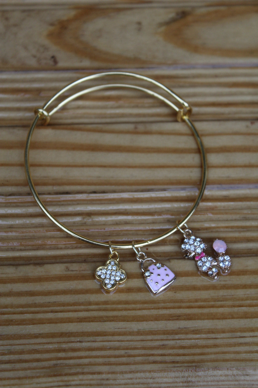 Women's Sparkle Poodle and Pink Purse Gold Bangle Bracelet - JTB15002