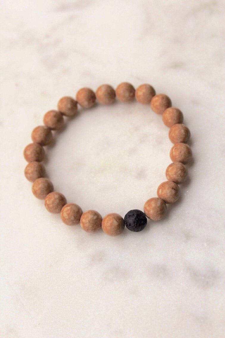Natural Riverstone and Lava Rock Bracelet