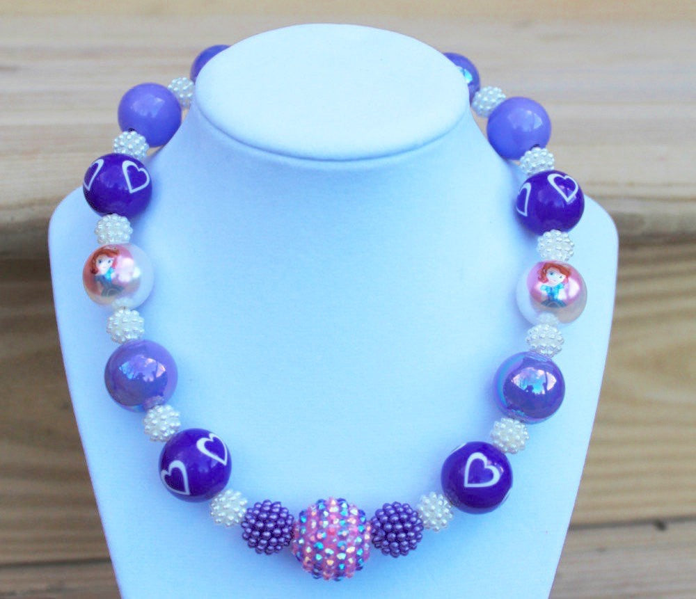 Sofia the First Inspired Chunky Bubblegum Necklace