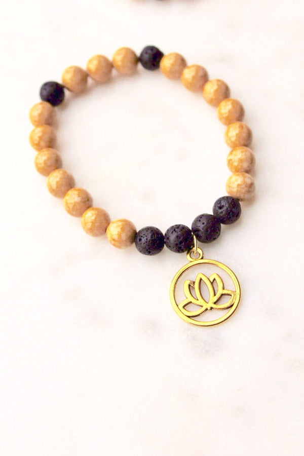 Natural Riverstone Bracelet with Gold Lotus Flower Charm
